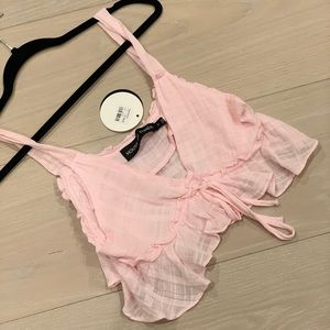 NEW WITH TAGS LF House of Three Pink Tie Crop Top